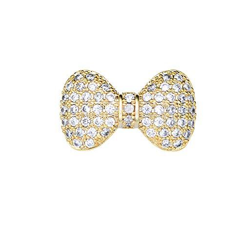 Joyci 1Piece Created Cardigan Pin Shawl Brooch Crystal Cute Vintage Style Brooch Pin Bowknot Sweater Knitwear Lapel Pin Women Jewelry (Gold)