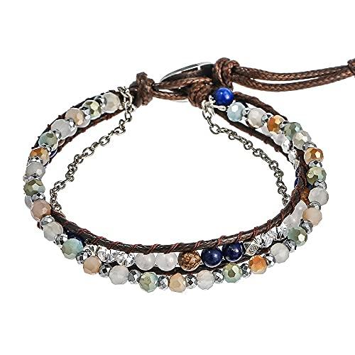 Muñequera Pulsera de envoltura de cuero multicapa, pulsera bohemia con cuentas, hechas a mano de bricolaje de cristal de cristal con cuentas de grano cadena de pulsera para mujeres Personalizado