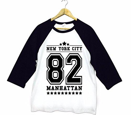 Herren New York City NYC 82 Manhattan American Football Baseball College Tri-Blend Sportliches 3/4 Arm T-Shirt Von Bella+Canvas Weiß & Schwarz S