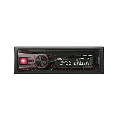 Alpine CDE-190R schwarzer KFZ-Medien-Receiver (4.0Kanäle, FM, LW, MW, 87,5–108MHz, 531–1602kHz, 153–281kHz, 1Kabel)