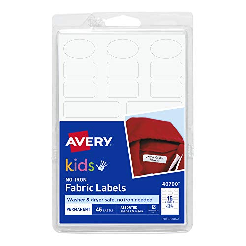 Avery No-Iron Kids Clothing Labels, Washer & Dryer Safe, Writable Fabric Labels, 45 Daycare Labels, 1 Pack (40700), White