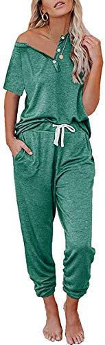 Loalirando Completo Sportivo Donna Tuta Donna Estiva Maglietta a Manica Corta + Pantaloni Sportivi a Vita Alta (Verde, L)