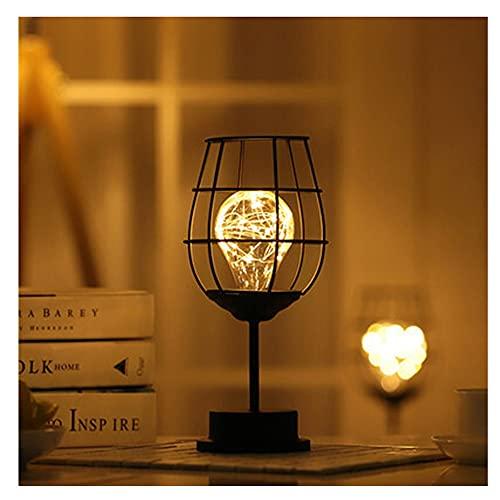 Lámpara de brazo oscilante Lámpara de mesa de alambre negra, estilo de canasta de hierro moderno, luz nocturna, lantern de alambre de cobre vintage cama de dormitorio, lámparas minimalistas de mesa hu
