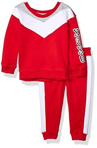 XOXO Girls' Toddler Fleece Top & Jogger Set, Red, 2T