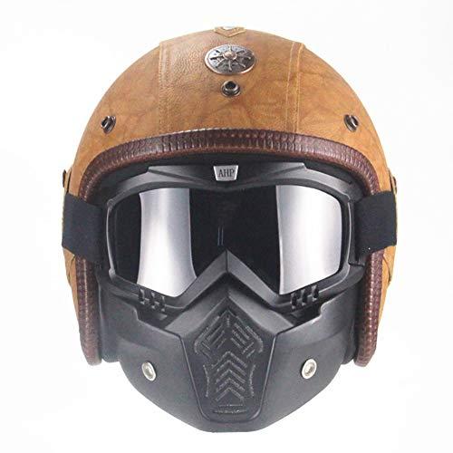 ANAN Retro lederen motorhelm scooter helm met bril Jet helm voor dames en heren bruin