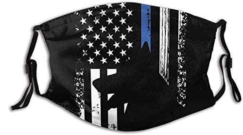 America Flag Fashion Face Mask Fabric Protection Bandanas Balaclava Pocket Washable Reusable with 2 Pcs Filters-American Flag Police Dog-One Size