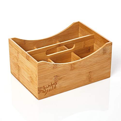 bambuswald© Schreibtisch-Organizer aus 100% Bambus - nachhaltiger & ökologischer Stifteköcher ca. 25x18x12cm - Aufbewahrungsbox, Stiftebox, Stiftehalter