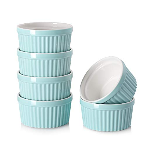 DOWAN 4 Oz Porcelain Ramekins - Souffle Dish Ramekins for Creme Brulee Pudding Oven Safe, Classic Style Ramekins Bowls for Baking, Set of 6, Blue