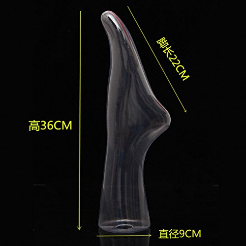 WellieSTR 1 Grade Transparent Female Mannequin Feet with Stand ,Mannequin Sock and Shoe Display Foot.Hosiery/Sox/Sock Display