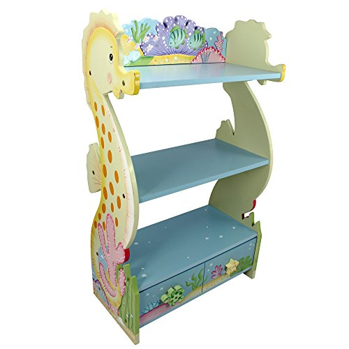 Fantasy Fields - Under The Sea Thematic Kids Wooden Bookcase With Storage, Blue