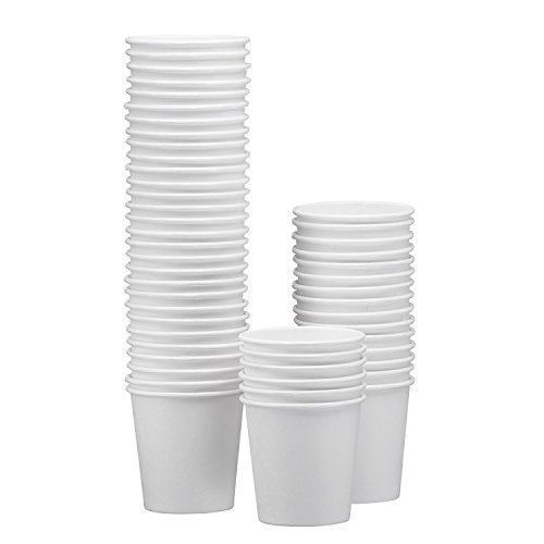 NYHI 50-Pack White Paper Disposable Cups – Hot/Cold Beverage Drinking Cup for Water, Juice, Coffee or Tea – Ideal for Water Coolers, Party, or Coffee On the Go' (8 oz)