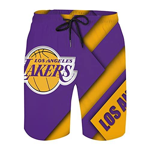 La-k-e-R Mens Swim Trunks Quick Dry Print Drawstring Swimming Pants Basketball K-o-b-e Elastic Waist Beach Board Shorts