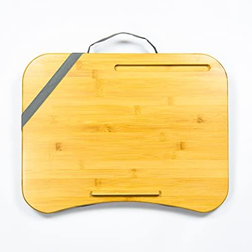 Laptopkissen Grau - Bambus Laptop Kissen für Bett, Reisen, Arbeiten, Zuhause - Laptop Unterlage - Kissentablett - Schoßtablett - Laptopunterlage - Lapdesk - Tragbarer Laptoptisch - Knietablett