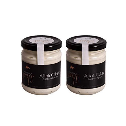 MALLORCASENSES - 2 x Allioli Clássic traditionelle spanische Ajoli Creme Salsa Dip Knoblauchcreme aus Mallorca Spanien (2x170g)