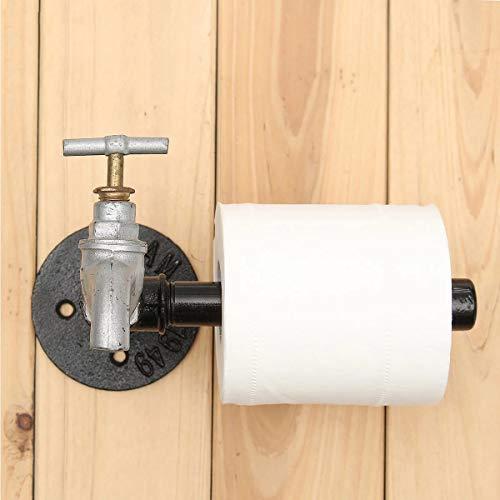 Tubo de Hierro Negro de Estilo rústico Industrial, Soporte de Rollo de Papel higiénico de Metal, Suministros de Hardware de baño para el hogar