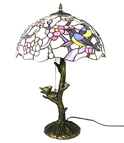 Tiffany Style Lámparas de mesa de 16 pulgadas de cristal manchado de 16 pulgadas Sombreado Metal Base de metal Vintage Nightstand Luz de la sala de estar Lámpara de la lámpara de la sala de matrimonio
