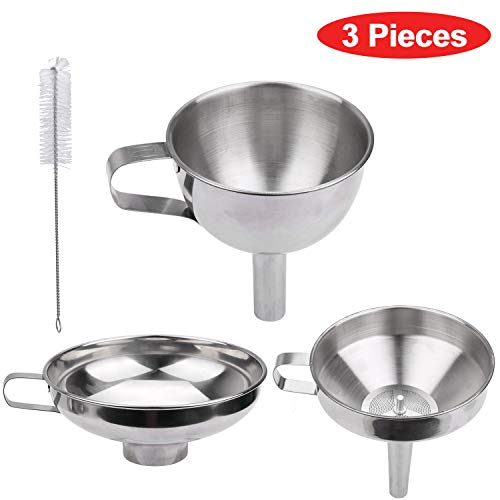 Kitchen Funnel Set - 3 Pieces Food Grade Stainless Steel Funnel  1 Strainer  1 Cleaning Brush - for Transferring Liquid Powder Juices Spices Olive oil Hot liquids and Dry ingredients