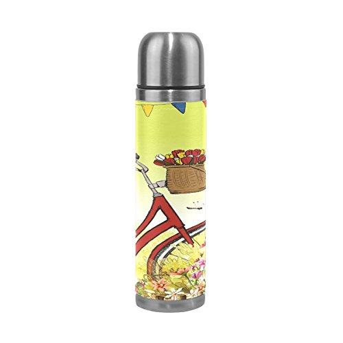 Eslifey Thermosflasche für Sommer, Sommer, Wandern, rotes Fahrrad, auslaufsicher, isoliert