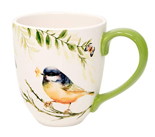 Duo Jumbotasse Becher XXL folkloristische Deko 810 ml aus Keramik Trinkbecher Smoothie Becher Geschenk Büro Tasse für Kaffee Teetasse Cappuccino Kaffeebecher Jumbo-Tasse Riesentasse XXXL (Vogel)