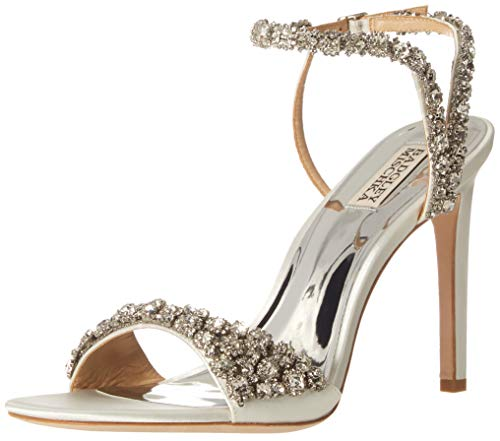 Badgley Mischka womens Galia Heeled Sandal, White Satin, 5.5 US
