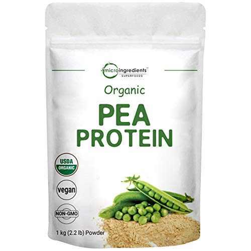 Organic Pea Protein Powder, 1KG (2.2 Pounds), Pea Protein Organic from Plants, Easy to Digest, Rich in Essential Amino Acids, Flavonoids and Minerals, Support Immune System, No GMOs and Vegan Friendly