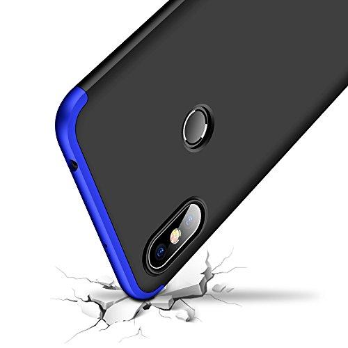 TiHen Funda para Xiaomi Redmi S2 Funda 360 Grados Todo Incluido protección + 2 Piezas Cristal Templado, Luxury 3 in 1 PC Hard Skin Carcasa Case Cover para Xiaomi Redmi S2(Negro Azul)