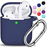 AirPods Case Cover with Keychain, Full Protective Silicone AirPods Accessories Skin Cover for Women Girl with Apple AirPods Wireless Charging Case,Front LED Visible-Midnight Blue