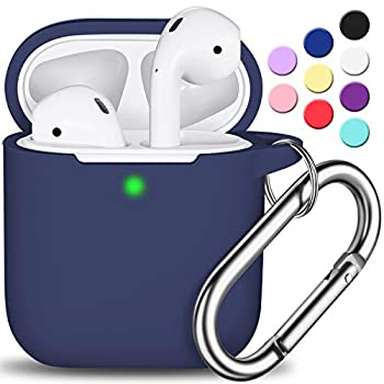 AirPods Case Cover with Keychain Full Protective Silicone AirPods Accessories Skin Cover for Women Girl with Apple AirPods Wireless Charging Case,Front LED Visible-Midnight Blue