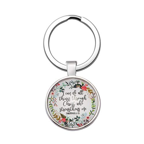 Christian Gift for Women Bible Verse Keychain Inspirational Birthday Key Chain for Her I Can Do All Things Through Christ Who Strengthens Me
