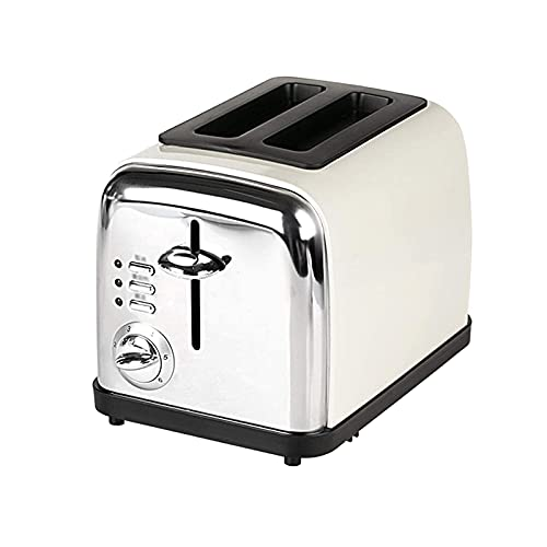 Stainless Steel Thermostat Bread Machine,2-Slice Extra-Wide Slot Toaster,6 Shade Setting,Built-in Cancel,reheat and Defrost Functions,800W (Color : Vintage White)