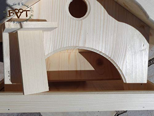 Vogelhaus, groß, BEL-X-VONI5-LOTUS-LEFA-dbraun002 Großes wetterfestes PREMIUM Vogelhaus mit wasserabweisender LOTUS-BESCHICHTUNG VOGELFUTTERHAUS + Nistkasten 100% KOMBI MIT NISTHILFE für Vögel WETTERFEST, QUALITÄTS-SCHREINERARBEIT-aus 100% Vollholz, Holz Futterhaus für Vögel, MIT FUTTERSCHACHT Futtervorrat, Vogelfutter-Station Farbe braun dunkelbraun behandelt / lasiert schokobraun rustikal klassisch, MIT TIEFEM WETTERSCHUTZ-DACH für trockenes Futter - 7