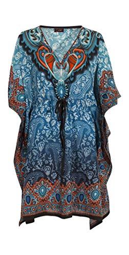 Kaftan Court Oriental Style Tunique Boubou Africaine Robe Cours ete Kaftan djellaba Femme Boheme Tunique Plage Beachwear Oversize Tunique Caftan (Vert, Taille Unique)
