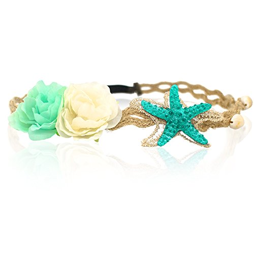 Starfish Shell Wave Headband, Elastic Flowers Hairband, Flower Headpiece, Mermaid Hair Band