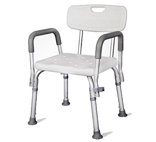 QX IAIZI Silla de Ducha Taburete de baño Banco de baño para Personas Mayores con discapacidades con apoyabrazos y Respaldo Heigt Antideslizante Ajustable