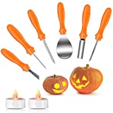 Halloween Pumpkin Carving Kit, Joyjoz Pumpkin Carving Tools Sets with 2 Pumpkin LED Lights,...
