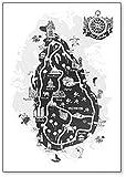 Kühlschrankmagnet, Motiv: Sri Lanka Zeichnungenkarte,