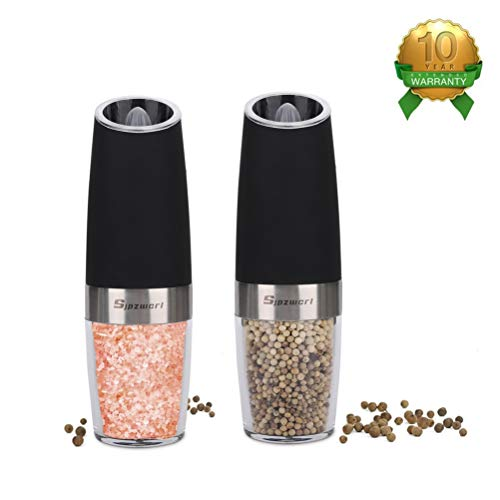 Sjpzwcrl Gravity Electric Salt and Pepper Set, Automatic Electric Salt Grinder One Handed Electric Salt and Pepper Grinder with Adjustable Coarseness Electric Pepper Mill, Black (Set of 2)
