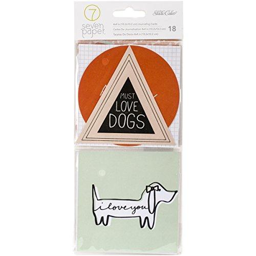 American Crafts 18 Stück Studio Calico Seven Paper Baxter Handbuch Journal Karten Hund 10,2 x 10,2 cm