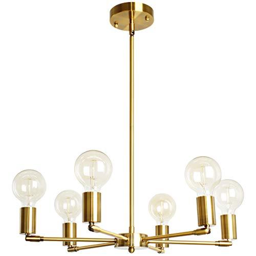 BAODEN 6 lampor fixtur modern guld sputnik ljuskrona borstad mässing mitten av århundradet pendellampa halvspolad montering hängande lampor för matsal sovrum köksbelysning