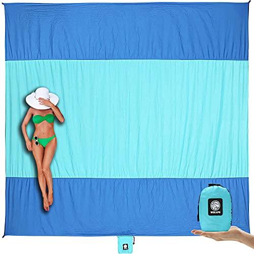 Wekapo Beach Blanket Sandproof, Extra Large Oversized 10'X 9' for 2-8 Adults Beach Mat, Big &...