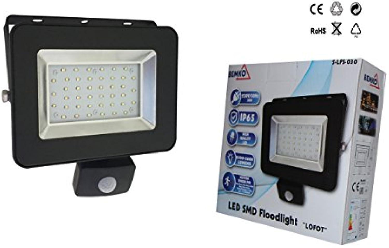 LED Strahler Fluter Scheinwerfer mit Bewegungsmelder Auenleuchte 30W Slim - Warmweiss, 3