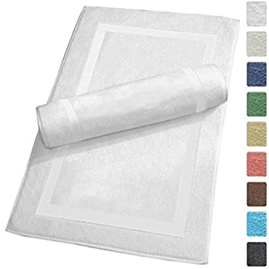 SALBAKOS Luxury Hotel and Spa 100% Turkish Cotton Banded Panel Bath Mat Set 900gsm! 20 x34  (White, 2 Pack)