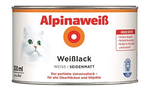 Alpina Weißlack Universallack 300 ml, Weiß, seidenmatt, Holz, Metall, Kunststoff