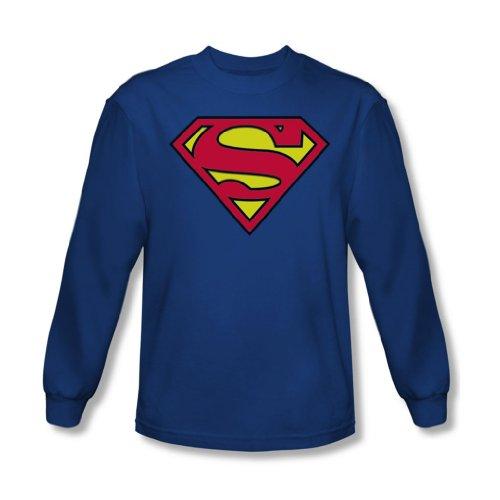 Superman - - Adulte Classic Logo manches longues T-shirt en bleu royal, Large, Royal Blue