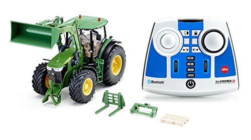 siku 6795, John Deere 7310R Traktor mit Frontlader, Grün, Metall/Kunststoff, 1:32, Ferngesteuert, Inkl. Bluetooth-Fernsteuerung und Zubehör, Steuerung via App möglich