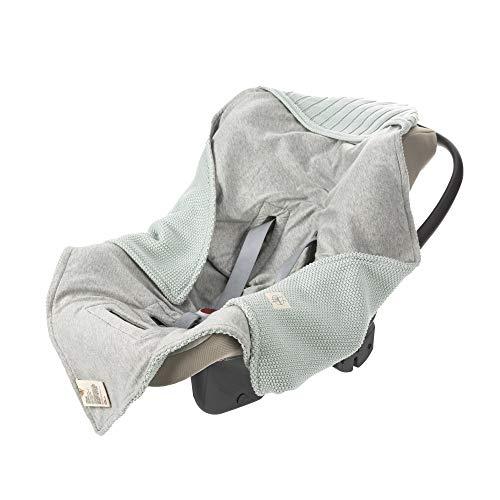 LÄSSIG Baby Strickdecke für Autositz Autositzdecke Einschlagdecke Babyschale 100% Bio-Baumwolle GOTS light mint