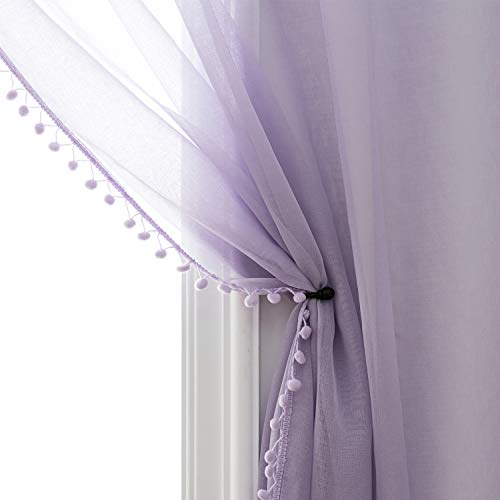 Selectex Linen Look Pom Pom Tasseled Sheer Curtains - Rod Pocket Voile Semi-Sheer Curtains for Living and Bedroom, Set of 2 Curtain Panels (52 x 63 inch, Lilac)