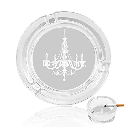 Cenicero para lámpara de araña blanca y gris con soporte para cenicero redondo para interior y exterior, decoración de mesa de 8,4 cm de diámetro