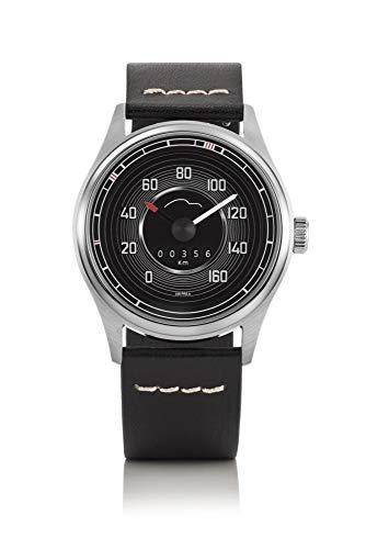 Bergmann Tachometer Uhr Porsche 356 Pre A Modell 1 Tacho 02 schwarzes Glattleder-Armband
