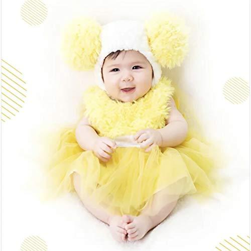 Wow Lovely Fantasia de Tutu para Meninas Amarelas com Bonito Boné de Pompom para Aniversário e Festa, Amarelo, S 0-6 month